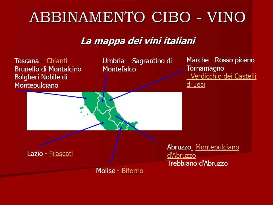 ABBINAMENTO CIBO - VINO La mappa dei vini italiani Toscana – Chianti Brunello di Montalcino Bolgheri Nobile di MontepulcianoChianti Umbria – Sagrantin