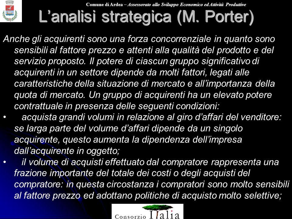 Comune di Ardea – Assessorato allo Sviluppo Economico ed Attività Produttive Lanalisi strategica (M. Porter) Anche gli acquirenti sono una forza conco
