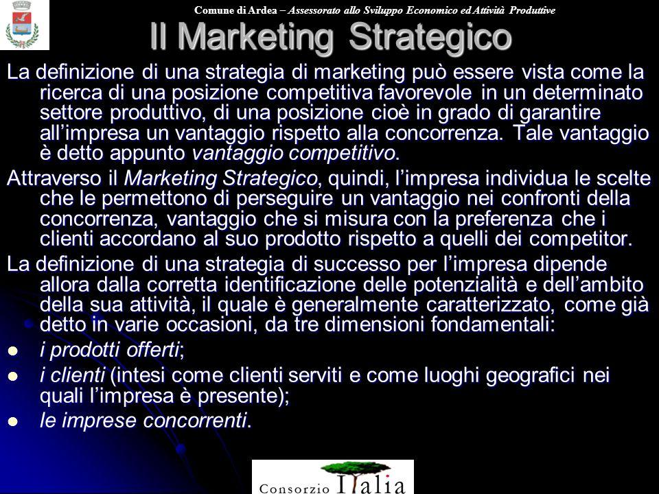 Comune di Ardea – Assessorato allo Sviluppo Economico ed Attività Produttive Il Marketing Strategico La definizione di una strategia di marketing può