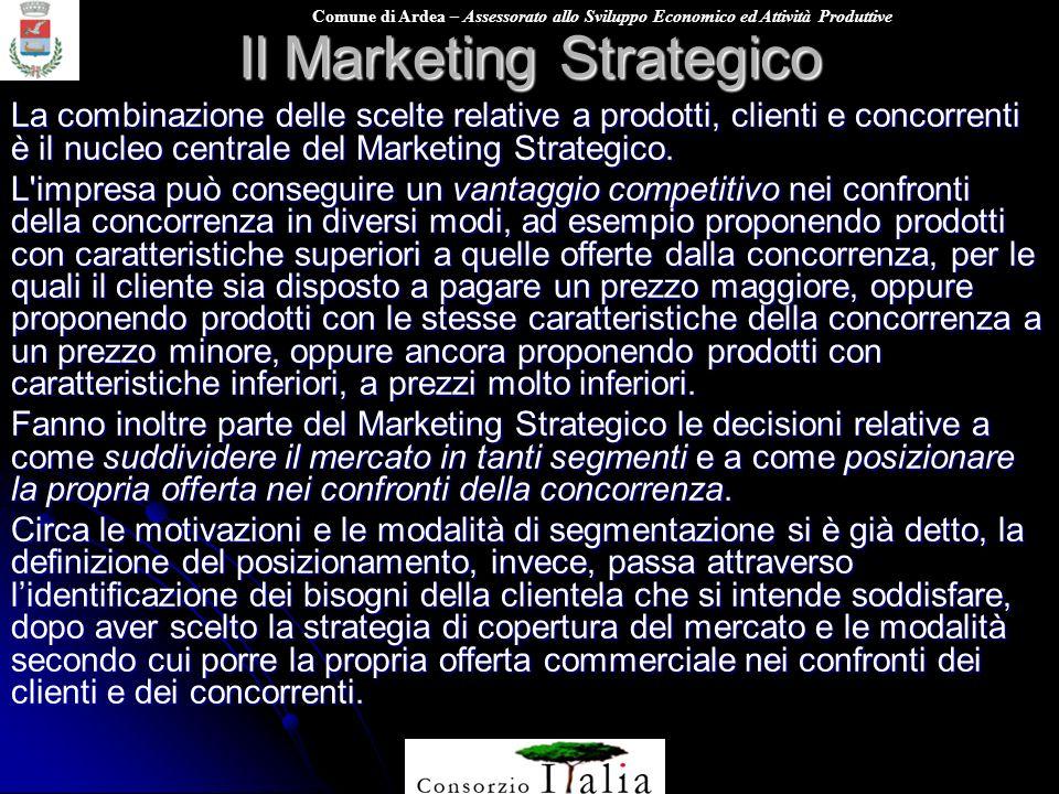 Comune di Ardea – Assessorato allo Sviluppo Economico ed Attività Produttive Il Marketing Strategico La combinazione delle scelte relative a prodotti,