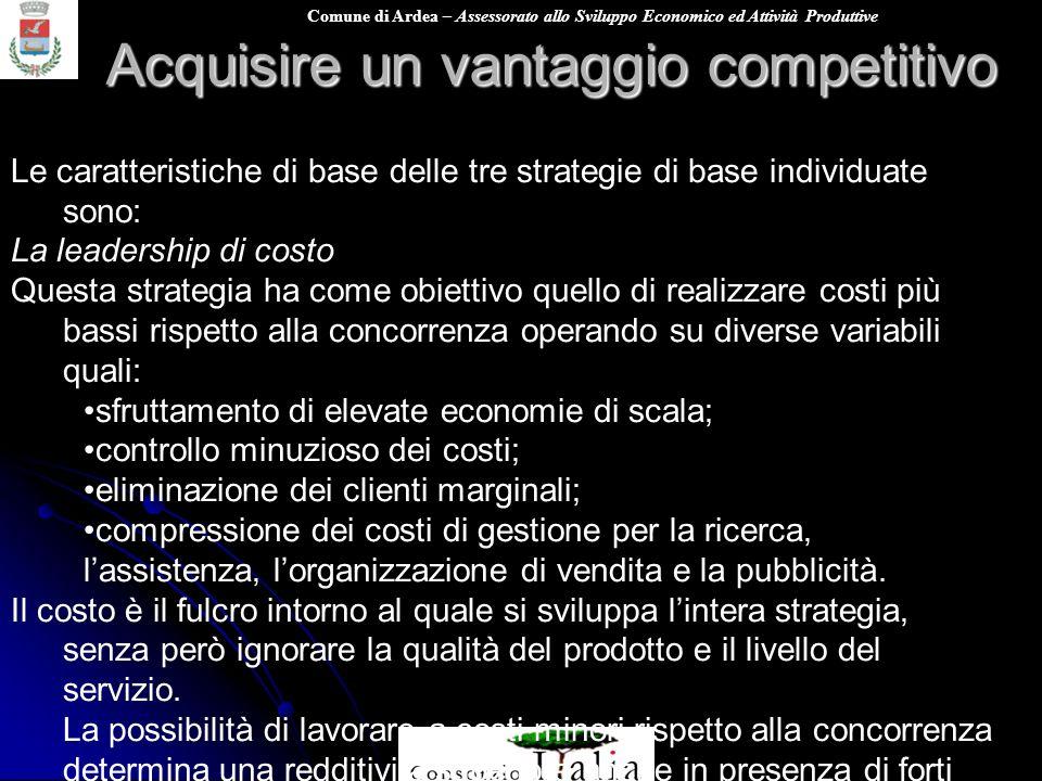 Comune di Ardea – Assessorato allo Sviluppo Economico ed Attività Produttive Acquisire un vantaggio competitivo Le caratteristiche di base delle tre s