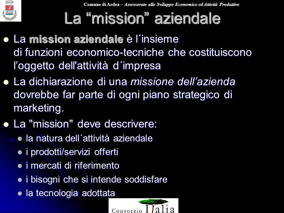 Comune di Ardea – Assessorato allo Sviluppo Economico ed Attività Produttive La mission aziendale La mission aziendale è l´insieme di funzioni economi