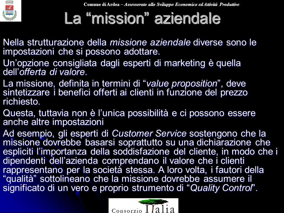 Comune di Ardea – Assessorato allo Sviluppo Economico ed Attività Produttive La mission aziendale Nella strutturazione della missione aziendale divers
