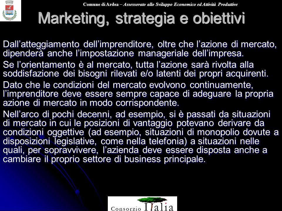 Comune di Ardea – Assessorato allo Sviluppo Economico ed Attività Produttive Marketing, strategia e obiettivi Dallatteggiamento dellimprenditore, oltr