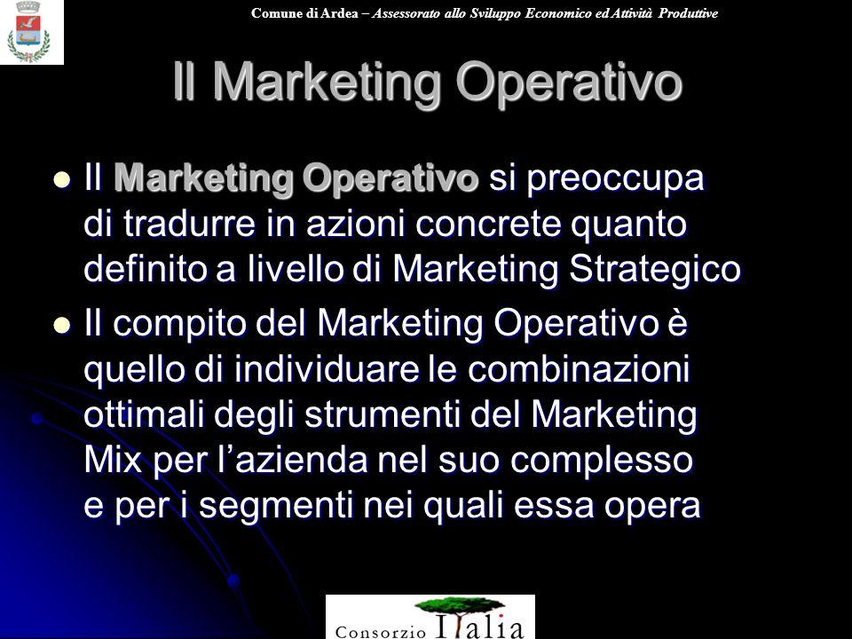 Comune di Ardea – Assessorato allo Sviluppo Economico ed Attività Produttive Il Marketing Operativo Il Marketing Operativo si preoccupa di tradurre in
