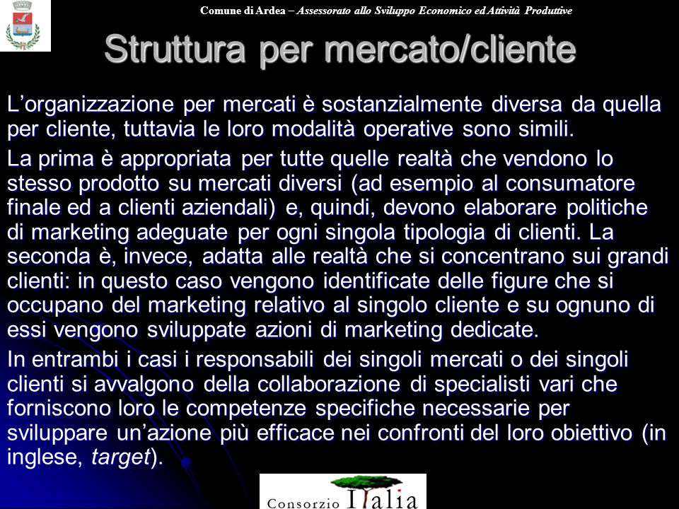 Comune di Ardea – Assessorato allo Sviluppo Economico ed Attività Produttive Struttura per mercato/cliente Lorganizzazione per mercati è sostanzialmen