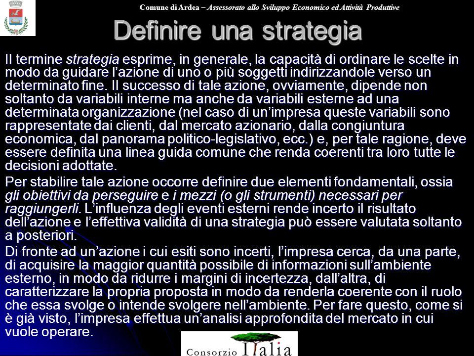 Comune di Ardea – Assessorato allo Sviluppo Economico ed Attività Produttive Definire una strategia Il termine strategia esprime, in generale, la capa