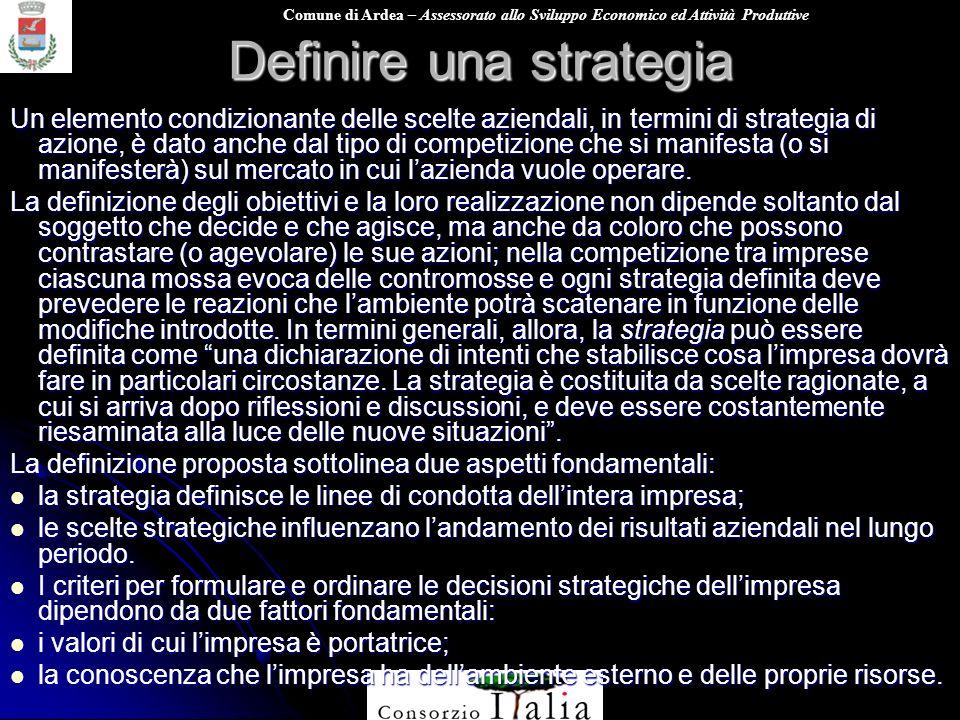 Comune di Ardea – Assessorato allo Sviluppo Economico ed Attività Produttive Definire una strategia Un elemento condizionante delle scelte aziendali,