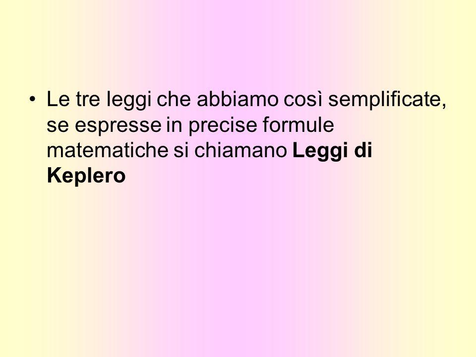 Le tre leggi che abbiamo così semplificate, se espresse in precise formule matematiche si chiamano Leggi di Keplero