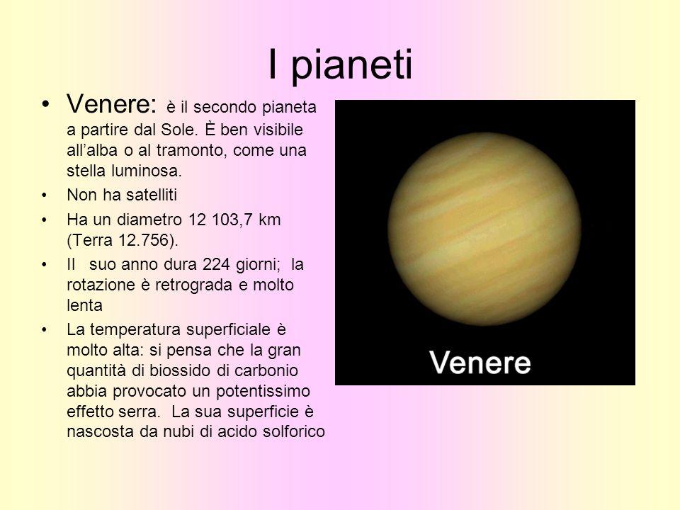 I pianeti Venere: è il secondo pianeta a partire dal Sole. È ben visibile allalba o al tramonto, come una stella luminosa. Non ha satelliti Ha un diam