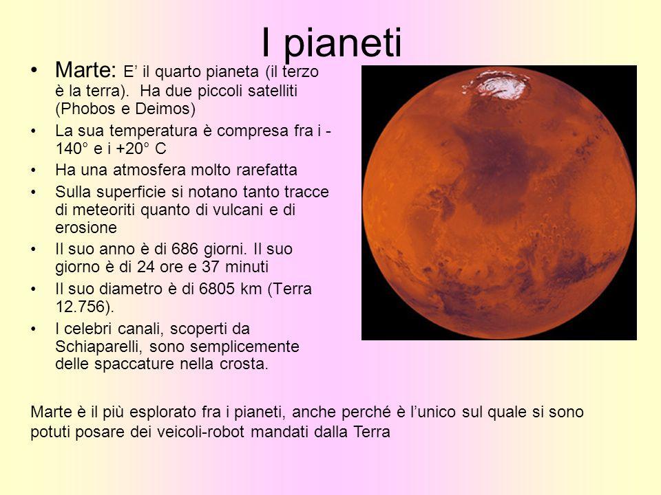 I pianeti Marte: E il quarto pianeta (il terzo è la terra). Ha due piccoli satelliti (Phobos e Deimos) La sua temperatura è compresa fra i - 140° e i
