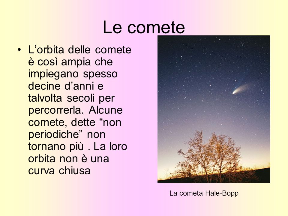 Le comete Lorbita delle comete è così ampia che impiegano spesso decine danni e talvolta secoli per percorrerla. Alcune comete, dette non periodiche n