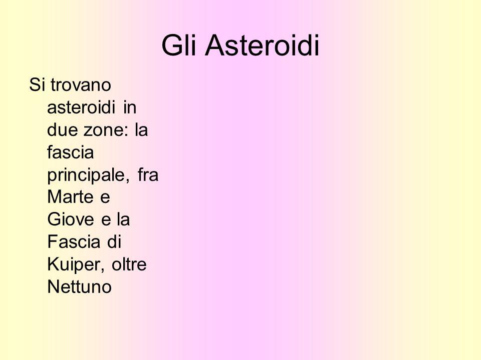 Gli Asteroidi Si trovano asteroidi in due zone: la fascia principale, fra Marte e Giove e la Fascia di Kuiper, oltre Nettuno