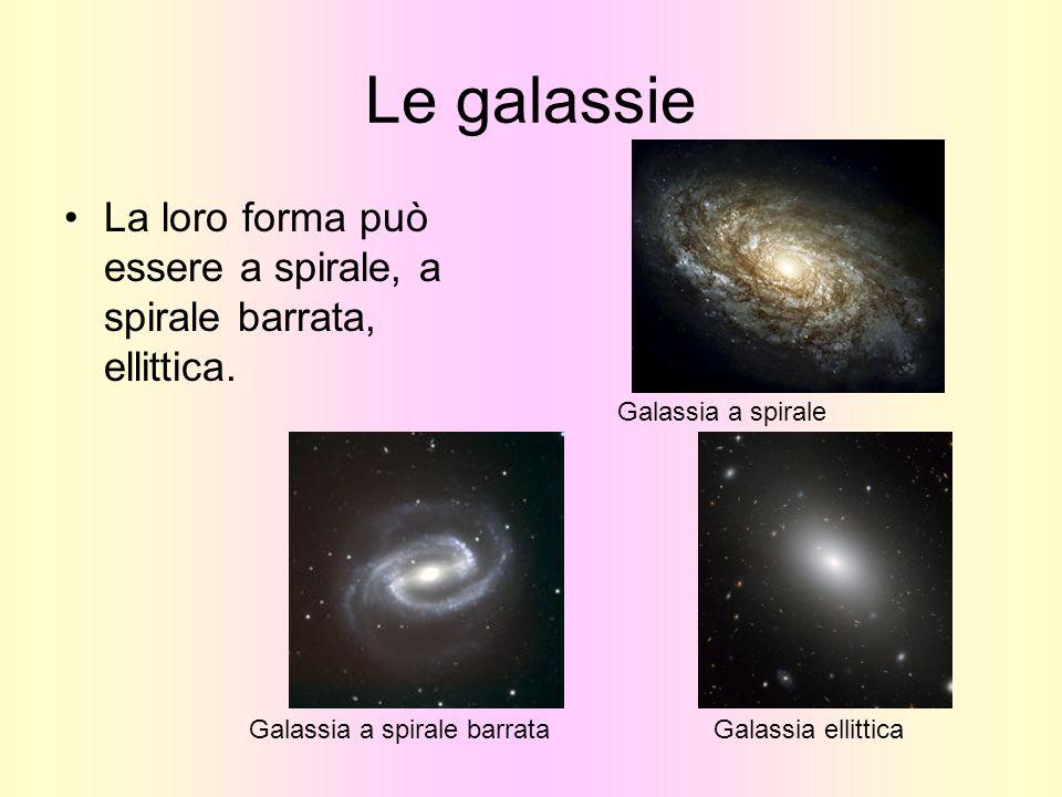 Le galassie La loro forma può essere a spirale, a spirale barrata, ellittica. Galassia a spirale barrataGalassia ellittica Galassia a spirale
