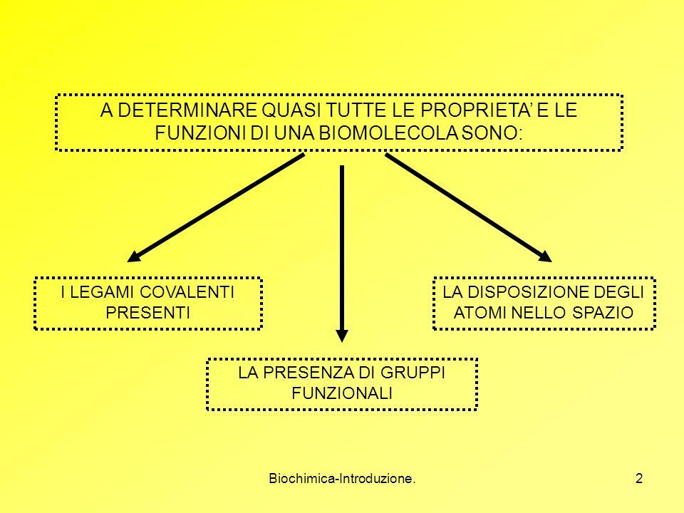 Biochimica-Introduzione.2 A DETERMINARE QUASI TUTTE LE PROPRIETA E LE FUNZIONI DI UNA BIOMOLECOLA SONO: I LEGAMI COVALENTI PRESENTI LA PRESENZA DI GRU