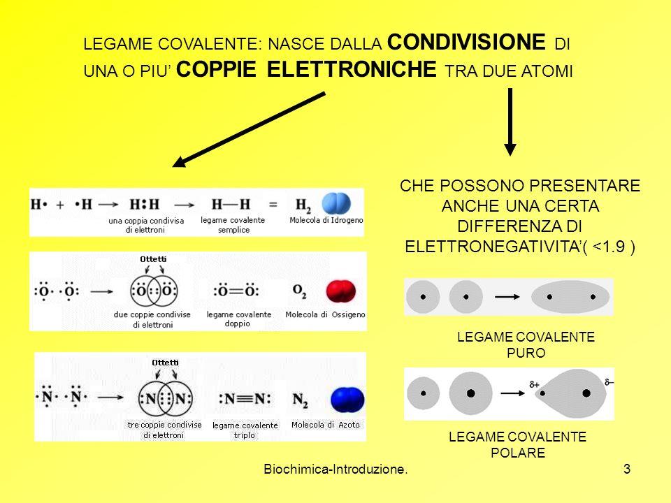 Biochimica-Introduzione.3 LEGAME COVALENTE: NASCE DALLA CONDIVISIONE DI UNA O PIU COPPIE ELETTRONICHE TRA DUE ATOMI CHE POSSONO PRESENTARE ANCHE UNA C