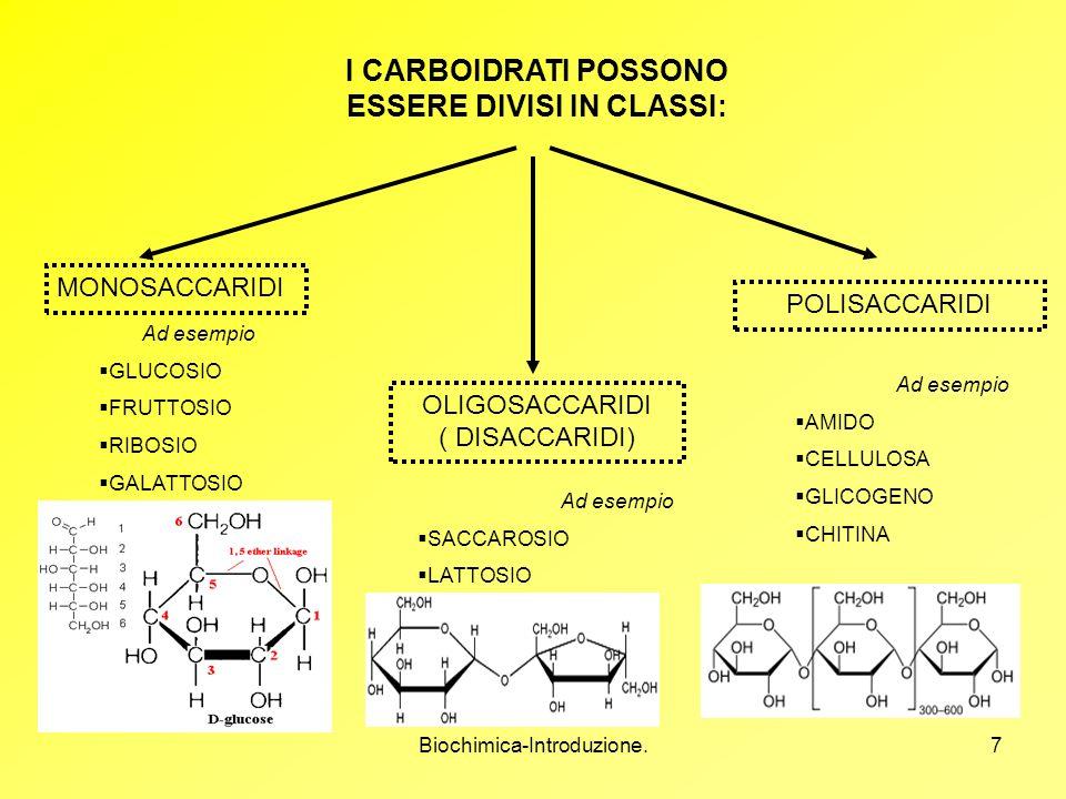 Biochimica-Introduzione.7 I CARBOIDRATI POSSONO ESSERE DIVISI IN CLASSI: MONOSACCARIDI OLIGOSACCARIDI ( DISACCARIDI) POLISACCARIDI Ad esempio GLUCOSIO