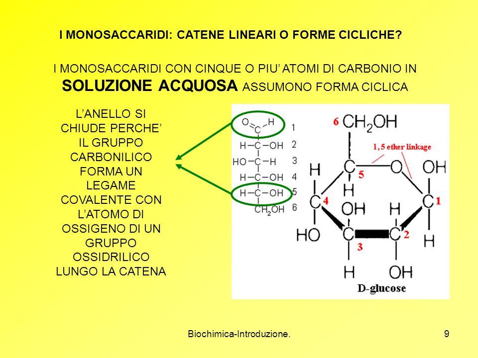 Biochimica-Introduzione.9 I MONOSACCARIDI: CATENE LINEARI O FORME CICLICHE? I MONOSACCARIDI CON CINQUE O PIU ATOMI DI CARBONIO IN SOLUZIONE ACQUOSA AS