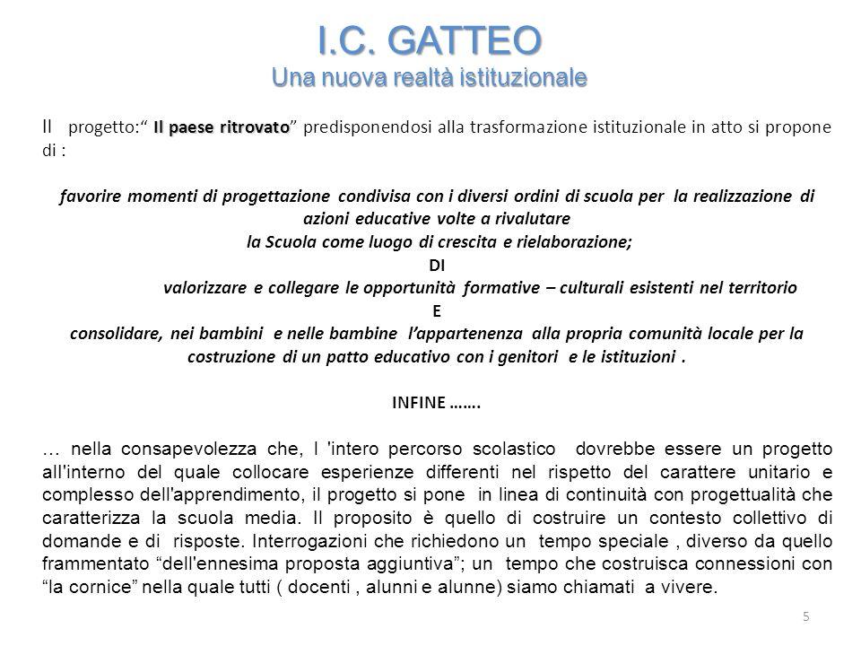 I.C. GATTEO Una nuova realtà istituzionale Il paese ritrovato Il progetto: Il paese ritrovato predisponendosi alla trasformazione istituzionale in att