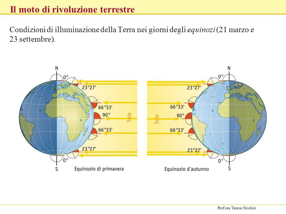 Prof.ssa Teresa Nicolosi Condizioni di illuminazione della Terra nei giorni degli equinozi (21 marzo e 23 settembre). Il moto di rivoluzione terrestre