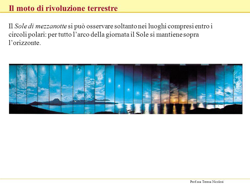 Prof.ssa Teresa Nicolosi Il Sole di mezzanotte si può osservare soltanto nei luoghi compresi entro i circoli polari: per tutto larco della giornata il