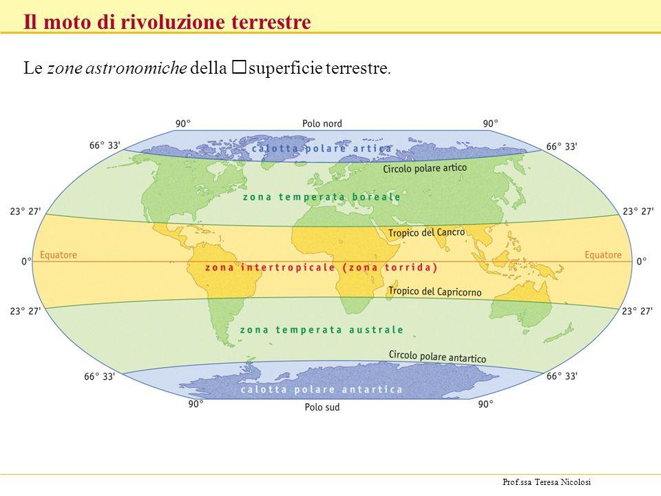 Prof.ssa Teresa Nicolosi Le zone astronomiche della superficie terrestre. Il moto di rivoluzione terrestre