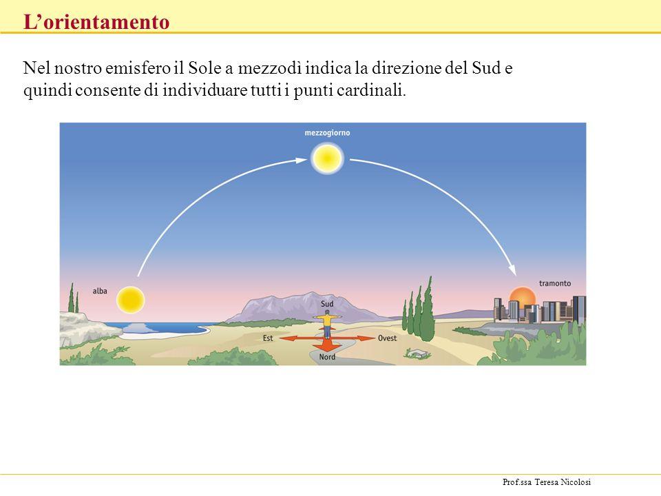 Prof.ssa Teresa Nicolosi Nel nostro emisfero il Sole a mezzodì indica la direzione del Sud e quindi consente di individuare tutti i punti cardinali.