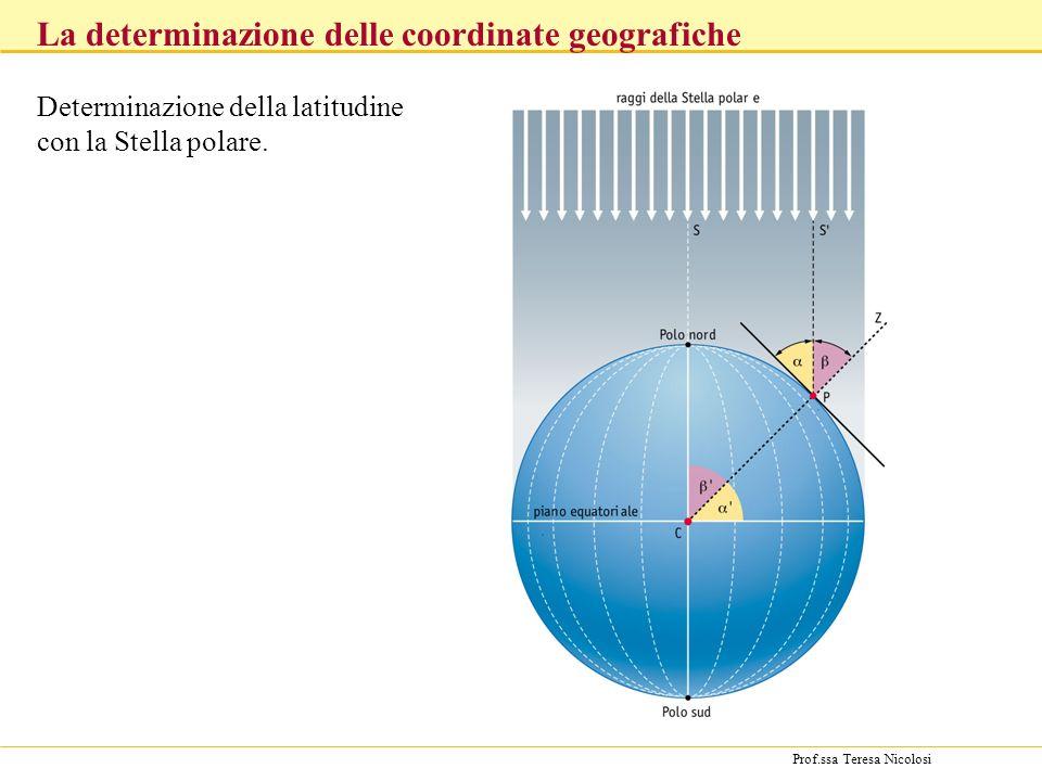 Prof.ssa Teresa Nicolosi Determinazione della latitudine con la Stella polare. La determinazione delle coordinate geografiche