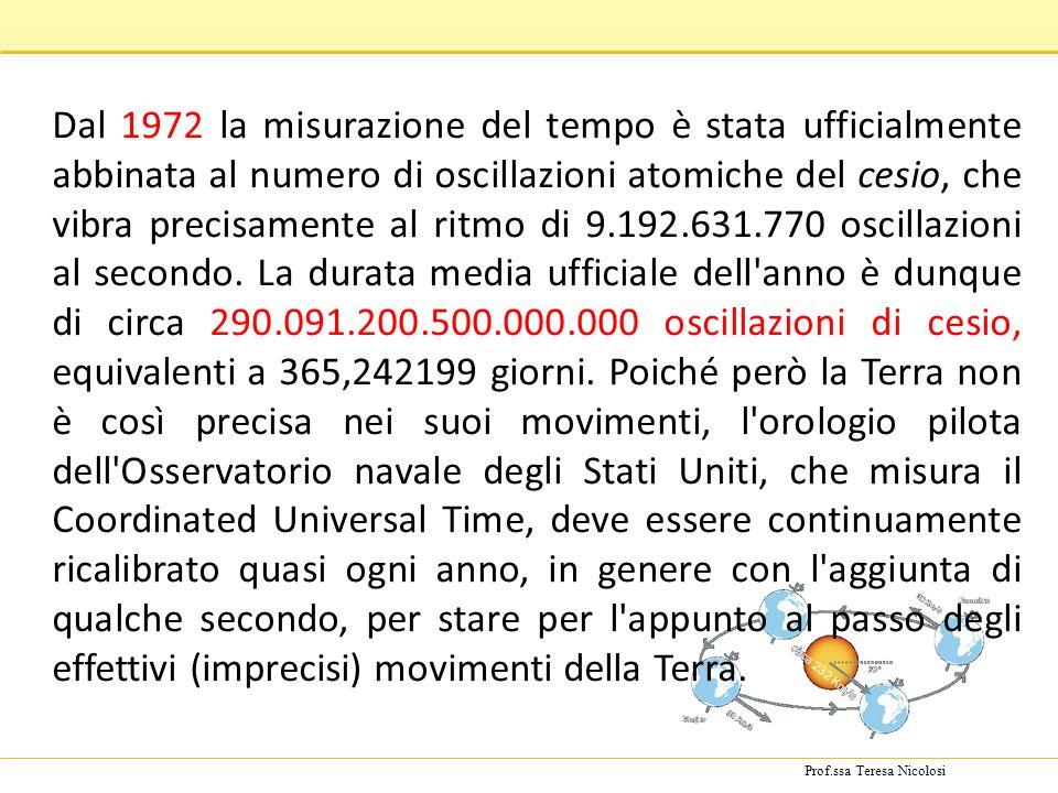 Prof.ssa Teresa Nicolosi Dal 1972 la misurazione del tempo è stata ufficialmente abbinata al numero di oscillazioni atomiche del cesio, che vibra precisamente al ritmo di 9.192.631.770 oscillazioni al secondo.
