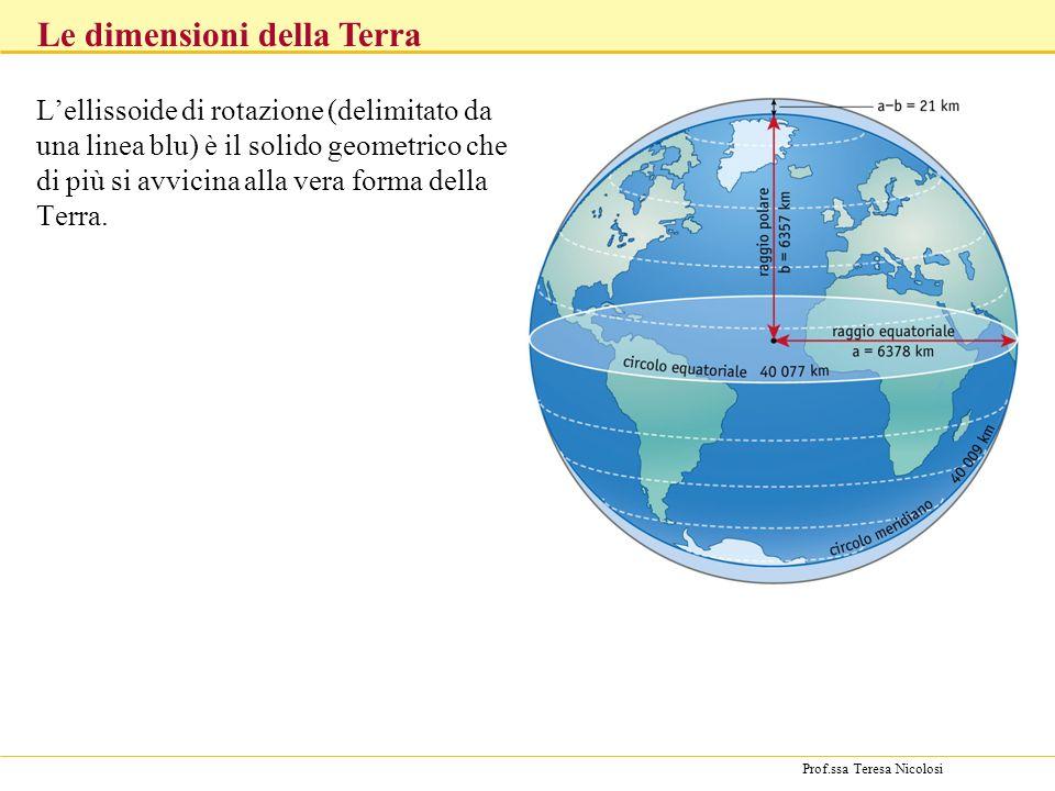 Prof.ssa Teresa Nicolosi Le dimensioni della Terra Lellissoide di rotazione (delimitato da una linea blu) è il solido geometrico che di più si avvicin