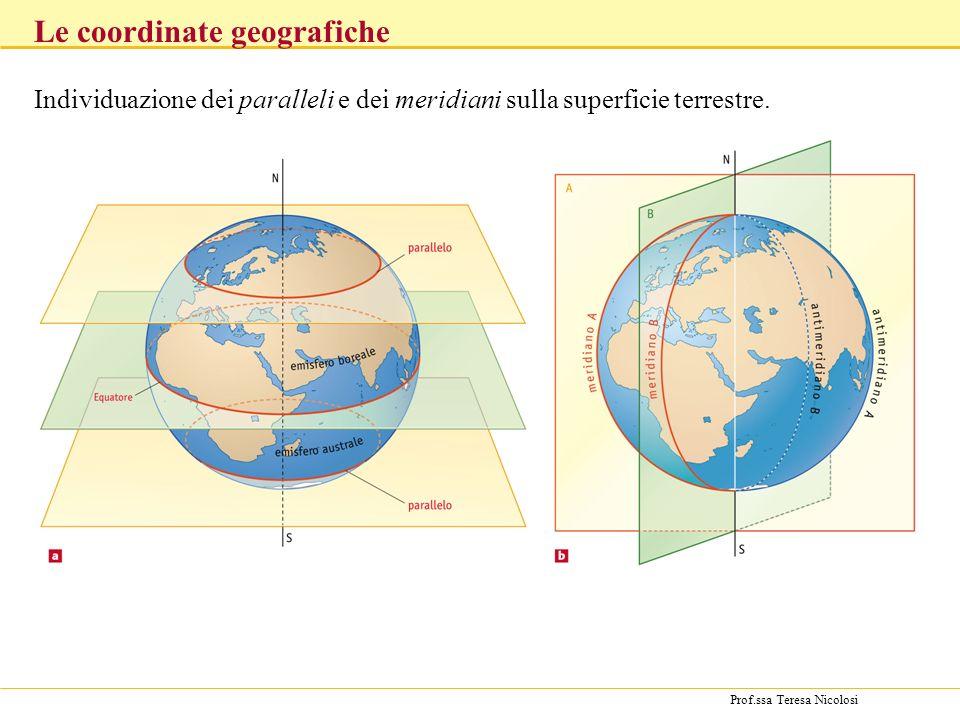 Prof.ssa Teresa Nicolosi Individuazione dei paralleli e dei meridiani sulla superficie terrestre. Le coordinate geografiche