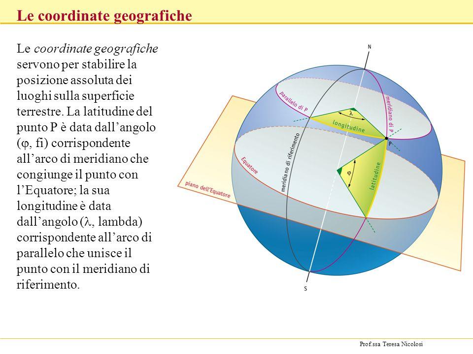 Prof.ssa Teresa Nicolosi Le coordinate geografiche Le coordinate geografiche servono per stabilire la posizione assoluta dei luoghi sulla superficie terrestre.