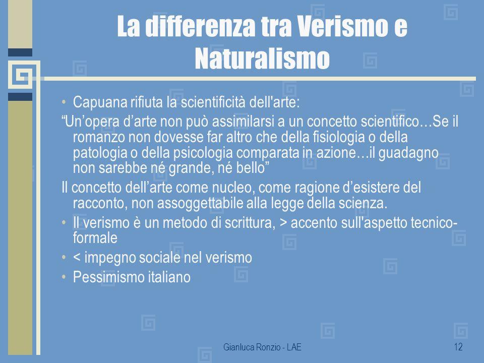 Gianluca Ronzio - LAE12 La differenza tra Verismo e Naturalismo Capuana rifiuta la scientificità dell'arte: Unopera darte non può assimilarsi a un con