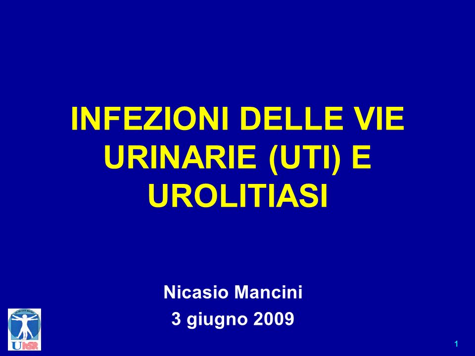1 INFEZIONI DELLE VIE URINARIE (UTI) E UROLITIASI Nicasio Mancini 3 giugno 2009