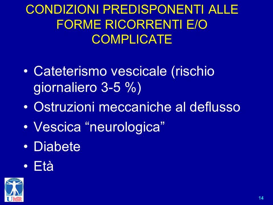 14 CONDIZIONI PREDISPONENTI ALLE FORME RICORRENTI E/O COMPLICATE Cateterismo vescicale (rischio giornaliero 3-5 %) Ostruzioni meccaniche al deflusso V