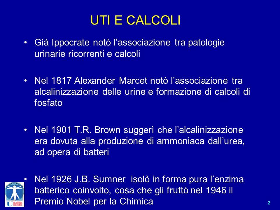 2 UTI E CALCOLI Già Ippocrate notò lassociazione tra patologie urinarie ricorrenti e calcoli Nel 1817 Alexander Marcet notò lassociazione tra alcalini