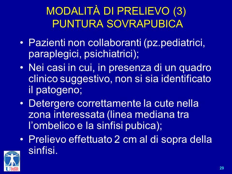 29 MODALITÀ DI PRELIEVO (3) PUNTURA SOVRAPUBICA Pazienti non collaboranti (pz.pediatrici, paraplegici, psichiatrici); Nei casi in cui, in presenza di