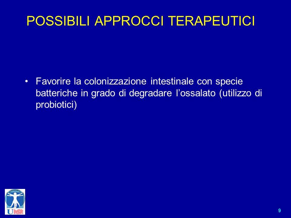9 POSSIBILI APPROCCI TERAPEUTICI Favorire la colonizzazione intestinale con specie batteriche in grado di degradare lossalato (utilizzo di probiotici)