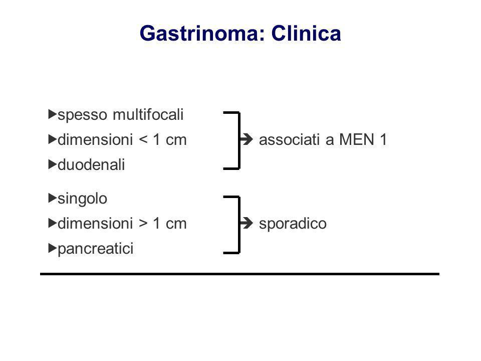 spesso multifocali dimensioni < 1 cm associati a MEN 1 duodenali spesso multifocali dimensioni < 1 cm associati a MEN 1 duodenali singolo dimensioni >