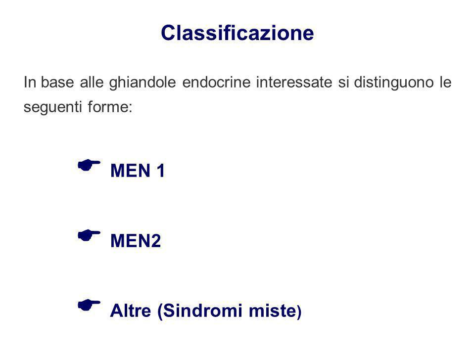 Classificazione In base alle ghiandole endocrine interessate si distinguono le seguenti forme: MEN 1 MEN2 Altre (Sindromi miste )