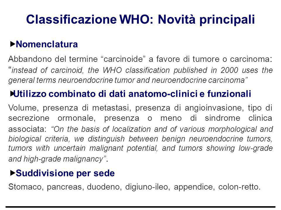 Classificazione WHO: Novità principali Nomenclatura Abbandono del termine carcinoide a favore di tumore o carcinoma : instead of carcinoid, the WHO cl