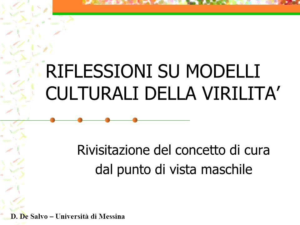 RIFLESSIONI SU MODELLI CULTURALI DELLA VIRILITA Rivisitazione del concetto di cura dal punto di vista maschile D. De Salvo – Università di Messina