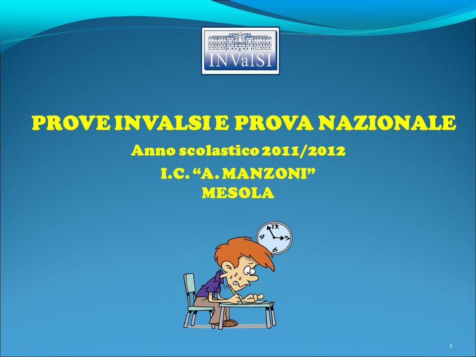 PROVE INVALSI E PROVA NAZIONALE 1 Anno scolastico 2011/2012 I.C. A. MANZONI MESOLA