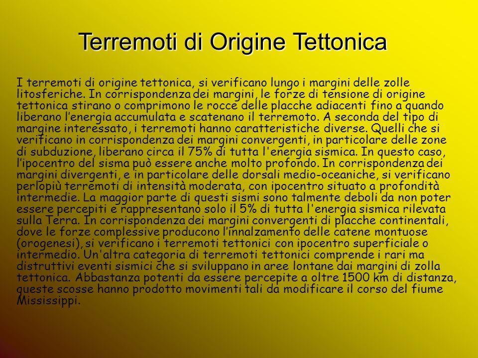 Terremoti di Origine Tettonica I terremoti di origine tettonica, si verificano lungo i margini delle zolle litosferiche. In corrispondenza dei margini