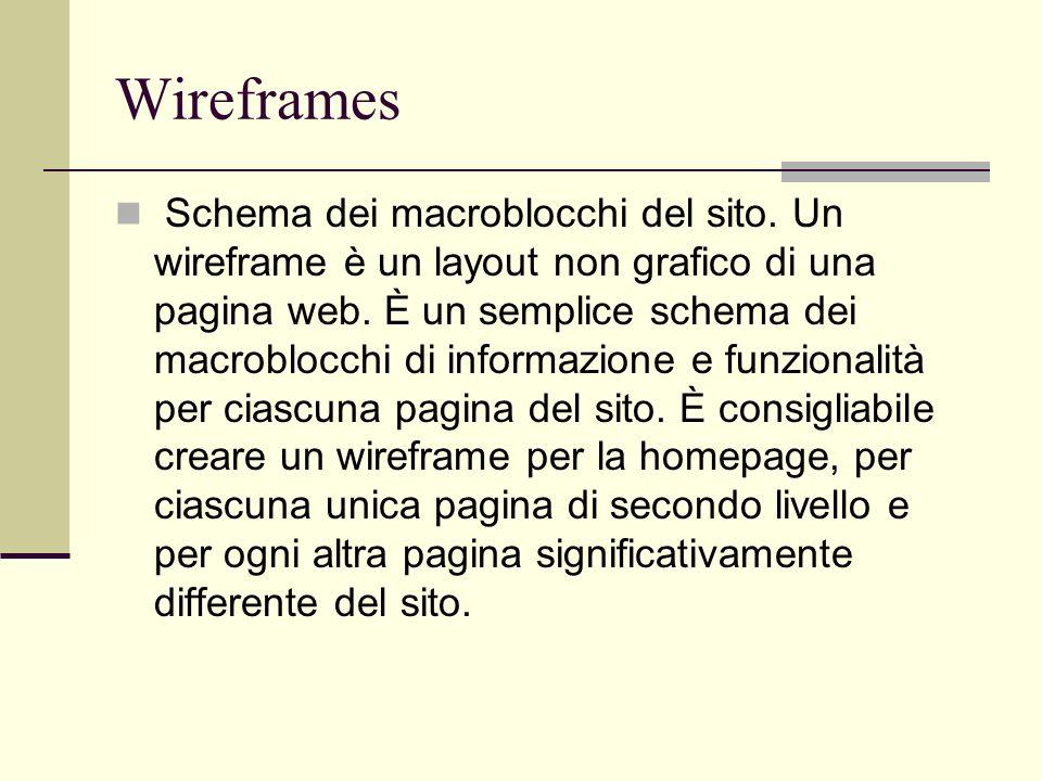 Wireframes Schema dei macroblocchi del sito. Un wireframe è un layout non grafico di una pagina web. È un semplice schema dei macroblocchi di informaz