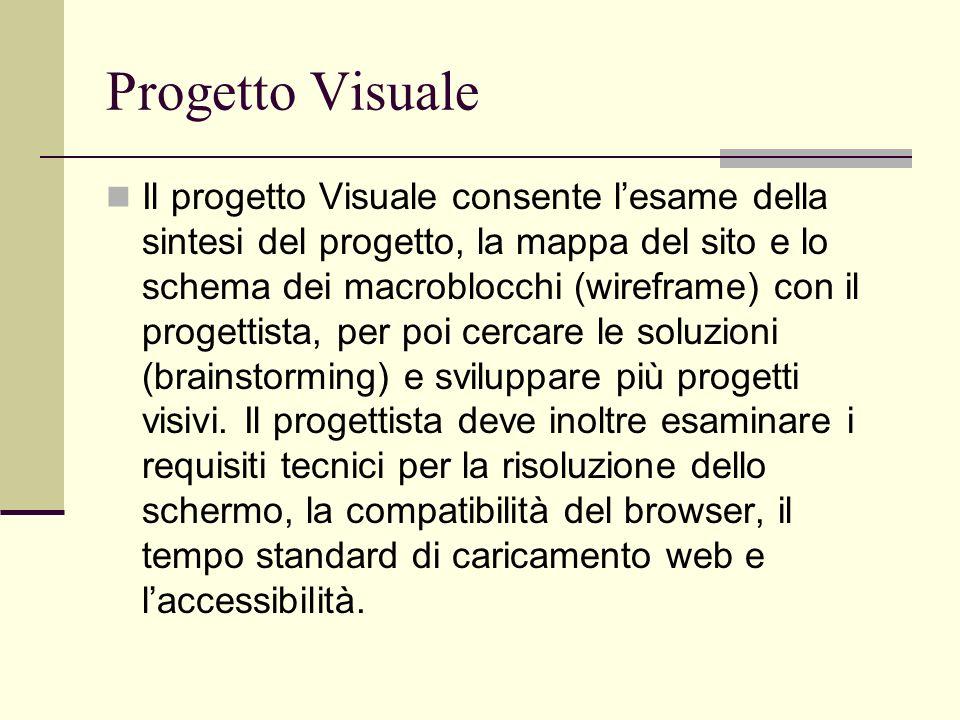 Progetto Visuale Il progetto Visuale consente lesame della sintesi del progetto, la mappa del sito e lo schema dei macroblocchi (wireframe) con il pro