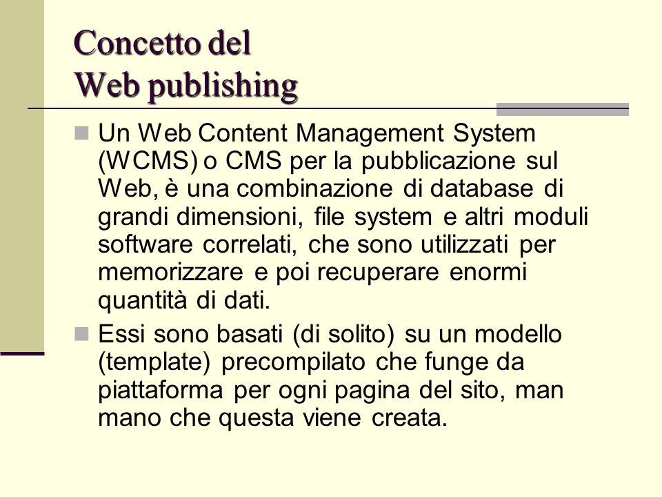 Concetto del Web publishing Un Web Content Management System (WCMS) o CMS per la pubblicazione sul Web, è una combinazione di database di grandi dimen