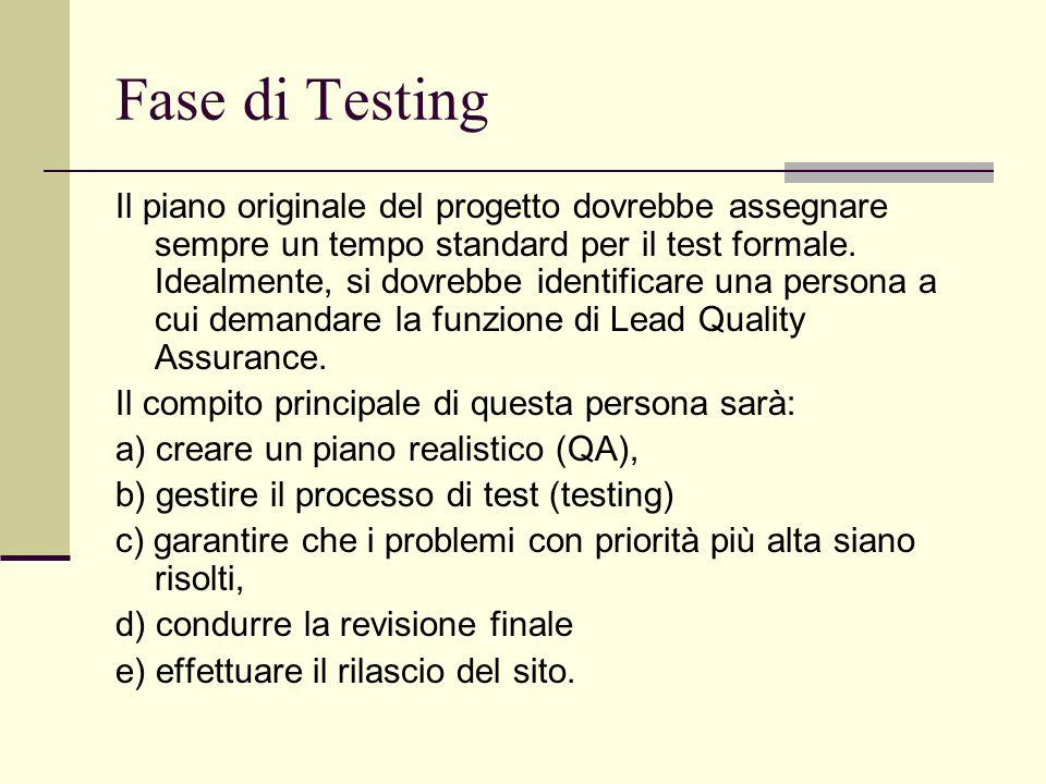 Fase di Testing Il piano originale del progetto dovrebbe assegnare sempre un tempo standard per il test formale. Idealmente, si dovrebbe identificare