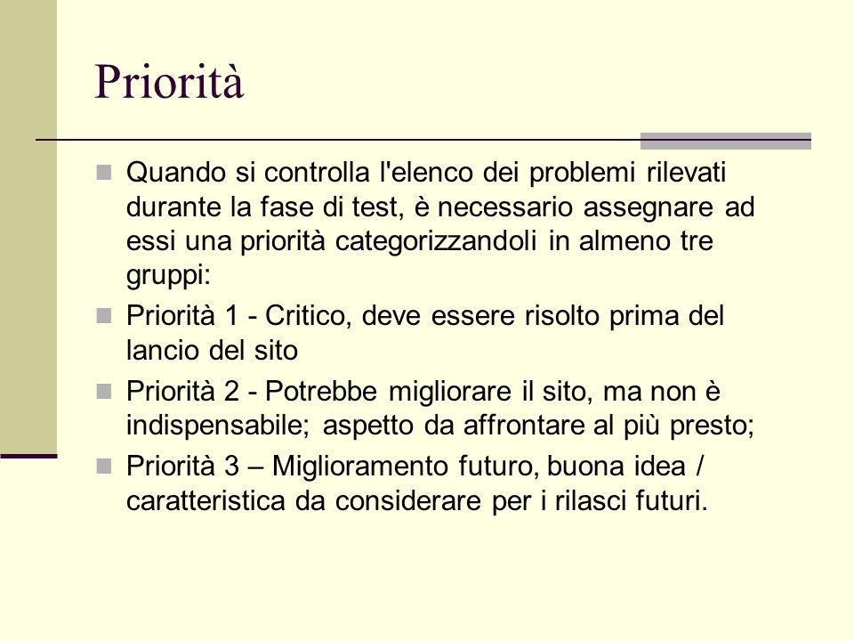 Priorità Quando si controlla l'elenco dei problemi rilevati durante la fase di test, è necessario assegnare ad essi una priorità categorizzandoli in a