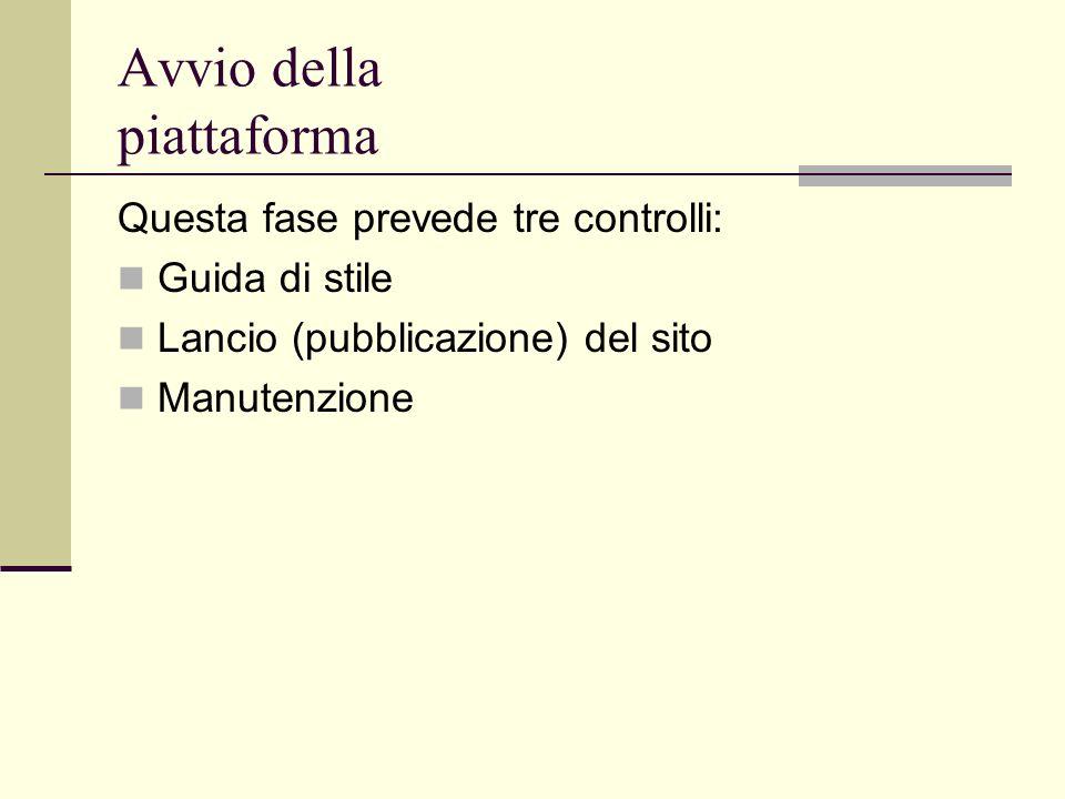 Avvio della piattaforma Questa fase prevede tre controlli: Guida di stile Lancio (pubblicazione) del sito Manutenzione